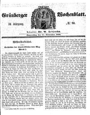 Grünberger Wochenblatt vom 11.11.1858