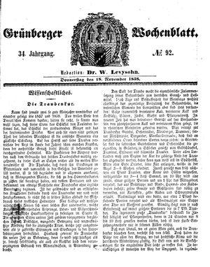 Grünberger Wochenblatt on Nov 18, 1858