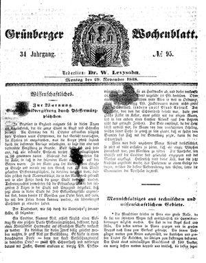 Grünberger Wochenblatt vom 29.11.1858