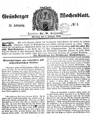Grünberger Wochenblatt vom 03.01.1859