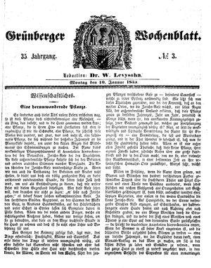 Grünberger Wochenblatt vom 10.01.1859