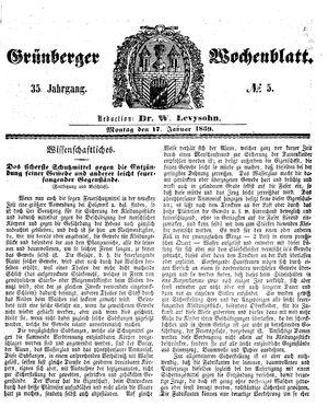 Grünberger Wochenblatt vom 17.01.1859