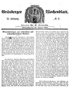 Grünberger Wochenblatt vom 20.01.1859