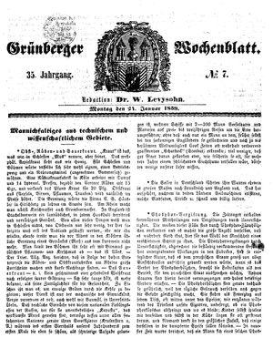 Grünberger Wochenblatt vom 24.01.1859