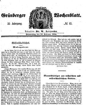 Grünberger Wochenblatt vom 10.02.1859