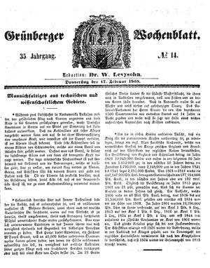 Grünberger Wochenblatt vom 17.02.1859