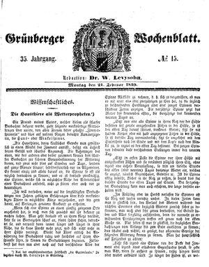 Grünberger Wochenblatt vom 21.02.1859