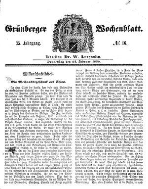 Grünberger Wochenblatt vom 24.02.1859