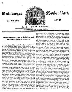 Grünberger Wochenblatt vom 28.02.1859