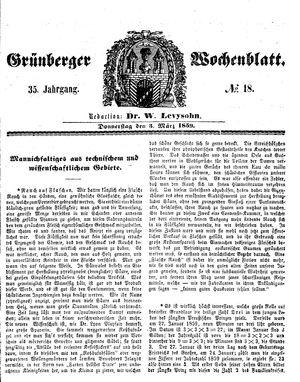 Grünberger Wochenblatt vom 03.03.1859