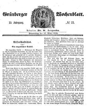 Grünberger Wochenblatt on Mar 17, 1859