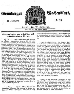 Grünberger Wochenblatt vom 21.03.1859