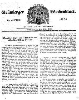 Grünberger Wochenblatt vom 24.03.1859