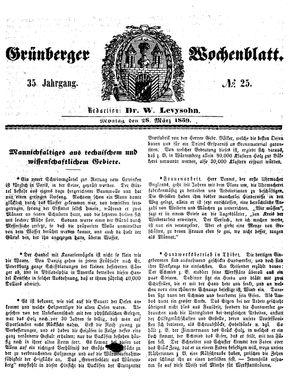 Grünberger Wochenblatt vom 28.03.1859