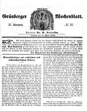 Grünberger Wochenblatt vom 04.04.1859