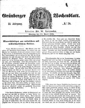 Grünberger Wochenblatt vom 11.04.1859