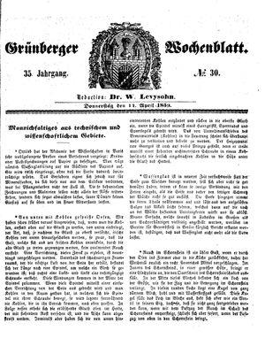 Grünberger Wochenblatt vom 14.04.1859