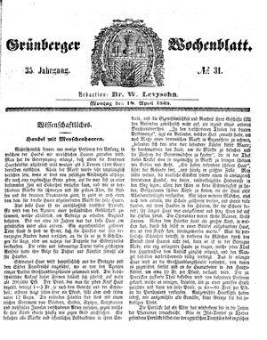 Grünberger Wochenblatt vom 18.04.1859