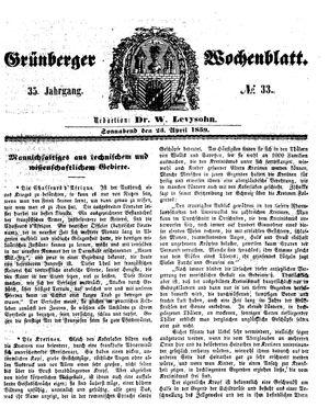 Grünberger Wochenblatt on Apr 23, 1859