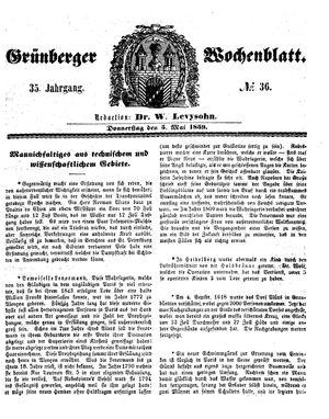Grünberger Wochenblatt vom 05.05.1859