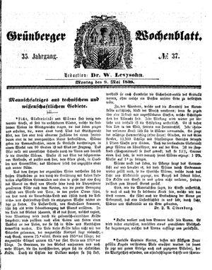 Grünberger Wochenblatt vom 09.05.1859