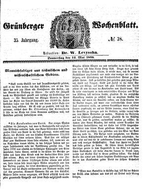 Grünberger Wochenblatt vom 12.05.1859