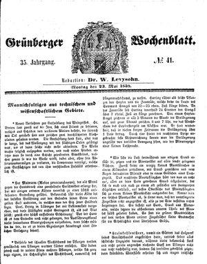 Grünberger Wochenblatt vom 23.05.1859