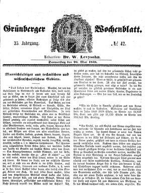 Grünberger Wochenblatt vom 26.05.1859