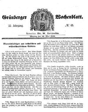 Grünberger Wochenblatt vom 30.05.1859