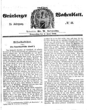 Grünberger Wochenblatt vom 02.06.1859