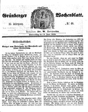 Grünberger Wochenblatt vom 09.06.1859