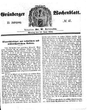 Grünberger Wochenblatt vom 13.06.1859