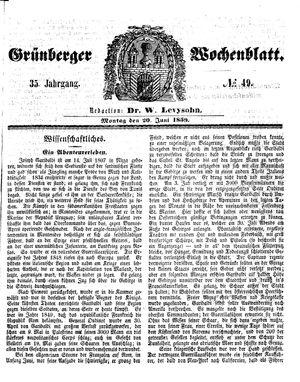 Grünberger Wochenblatt vom 20.06.1859
