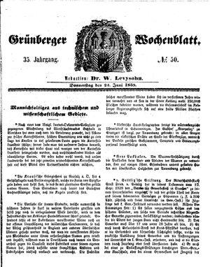 Grünberger Wochenblatt vom 23.06.1859
