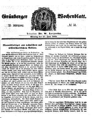 Grünberger Wochenblatt vom 27.06.1859