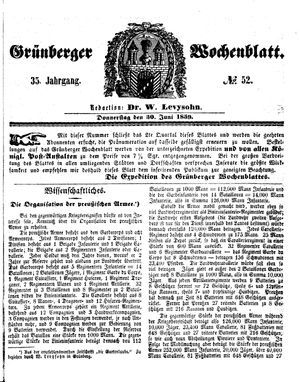 Grünberger Wochenblatt vom 30.06.1859