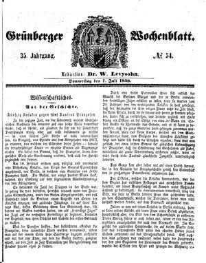 Grünberger Wochenblatt vom 07.07.1859