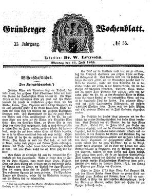 Grünberger Wochenblatt vom 11.07.1859