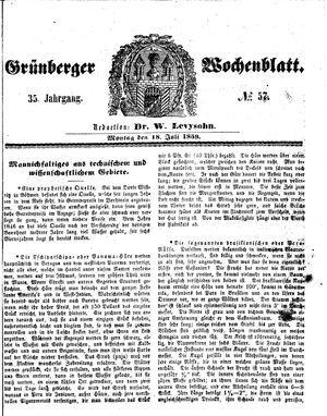 Grünberger Wochenblatt vom 18.07.1859