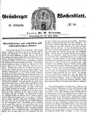 Grünberger Wochenblatt vom 21.07.1859