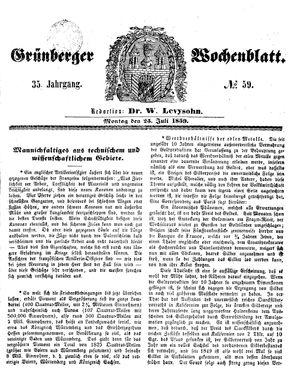 Grünberger Wochenblatt vom 25.07.1859