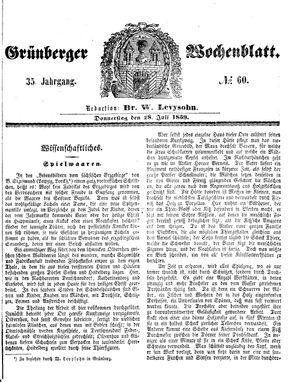 Grünberger Wochenblatt vom 28.07.1859