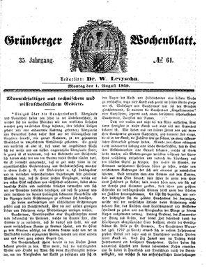 Grünberger Wochenblatt vom 01.08.1859