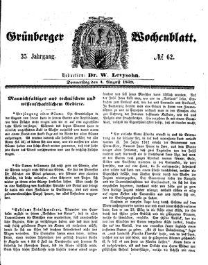 Grünberger Wochenblatt vom 04.08.1859