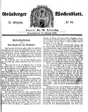 Grünberger Wochenblatt vom 11.08.1859