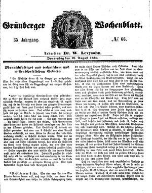 Grünberger Wochenblatt vom 18.08.1859