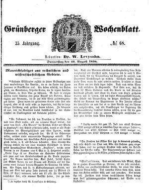 Grünberger Wochenblatt vom 25.08.1859