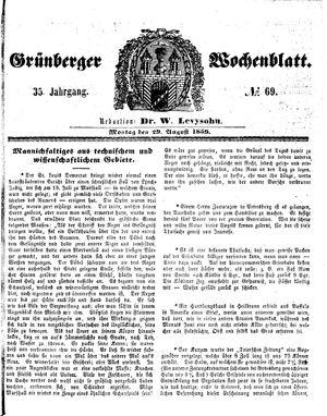 Grünberger Wochenblatt vom 29.08.1859