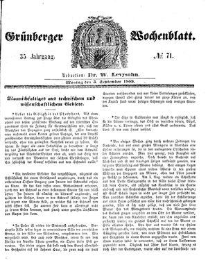 Grünberger Wochenblatt vom 05.09.1859