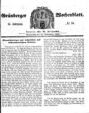 Grünberger Wochenblatt vom 22.09.1859